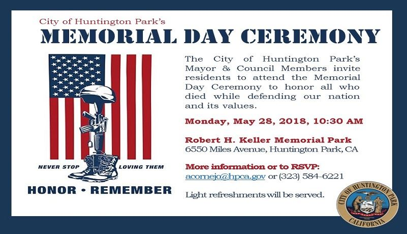 Memorial Day Ceremonry May 28